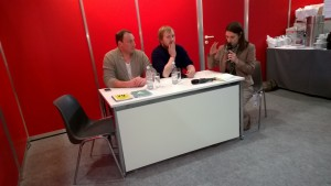 Podiumsgespräch mit Voland & Quist in der Blogger-Lounge. (c) litteratur.ch